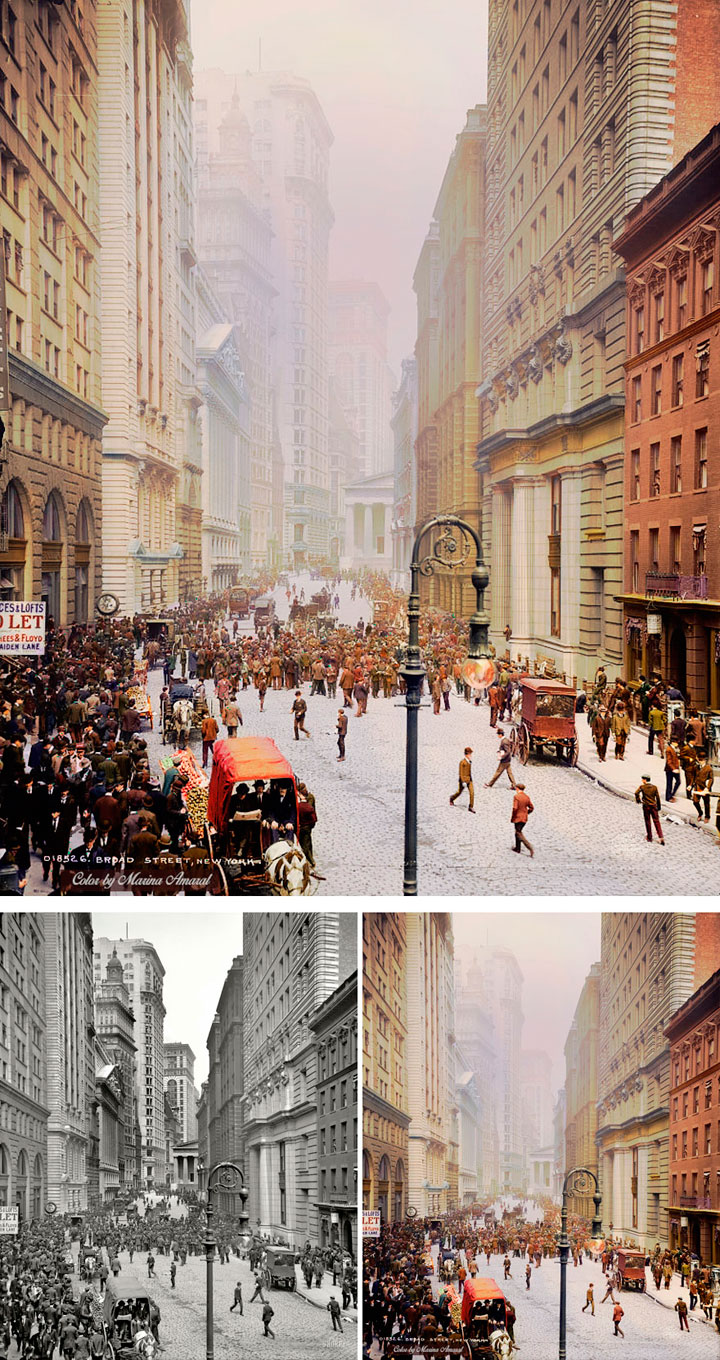broad-street-nueva-york-antigua-coloreada
