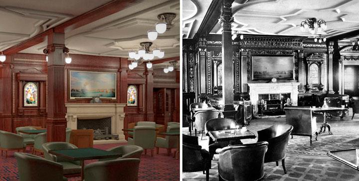 Sala de fumadores en el nuevo Titanic y el antiguo Titanic