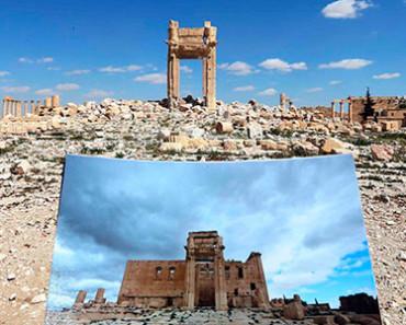 Fotos del antes y el después de la destrucción de ISIS en Palmira, Siria