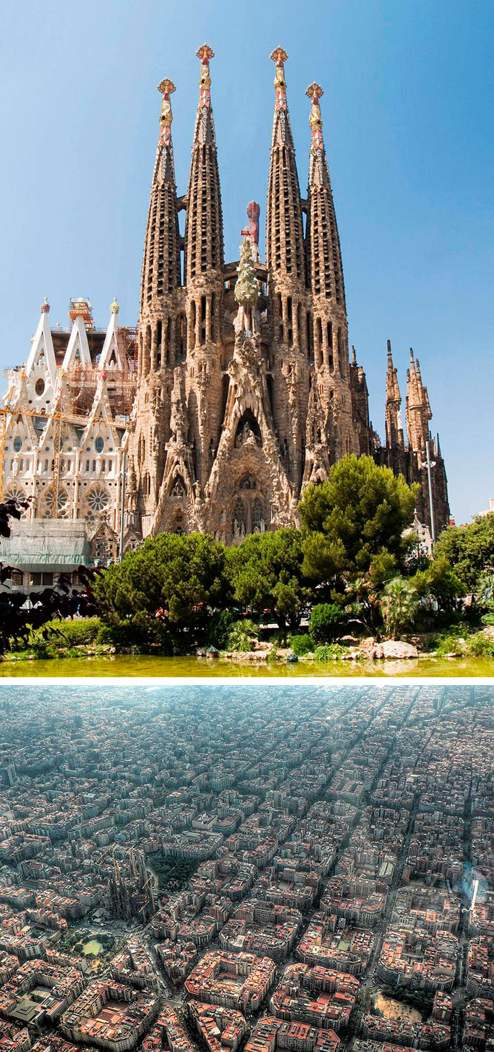 La Sagrada Familia de Barcelona vista desde el aire