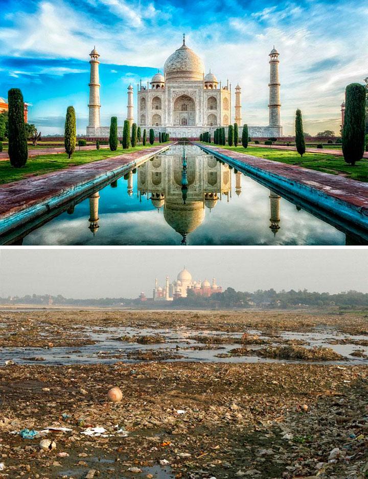 Taj Mahal cerca de la basura